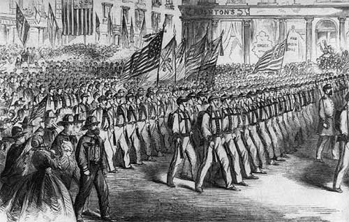 Escorted-by-firemen-colleagues-who-volunteered-leave-New-York-City-to-fight-the-Civil-War.